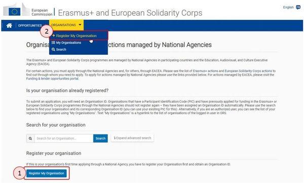 Organisation register